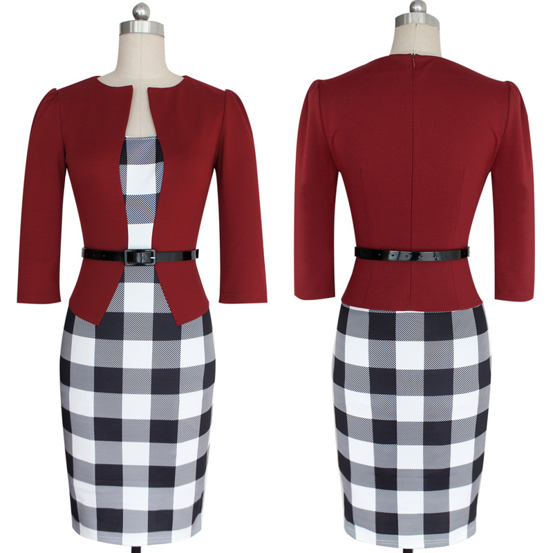 Newest Women s Sexy Bodycon Check font b Tartan b font Style Business OL Pencil Dress