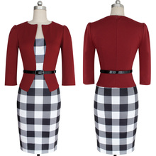 Newest Women's Sexy Bodycon Check Tartan Style Business OL Pencil Dress red S