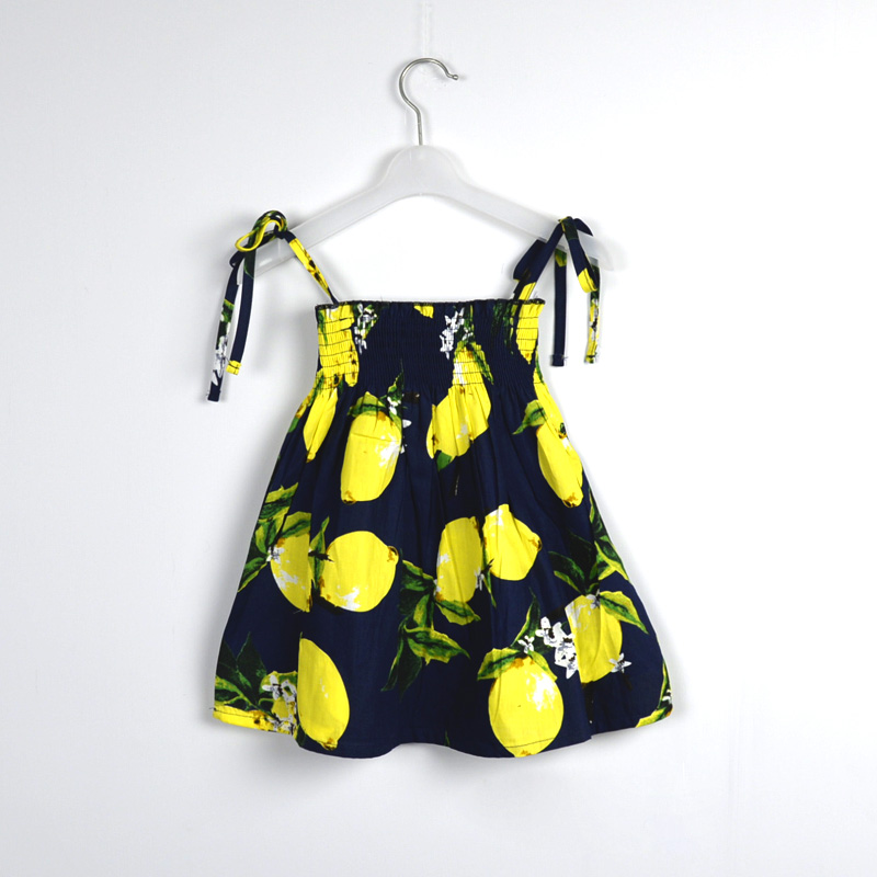 2016 baby girls braces dress Pineapple&Lemon 100% cotton suspender dress design kids children casual cute toddler dress clothes(China (Mainland))