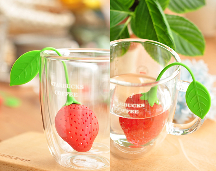 HOT! Silicone Strawberry Design Loose Tea Leaf Strainer Herbal Spice Infuser Filter Tools Free Shipping(China (Mainland))
