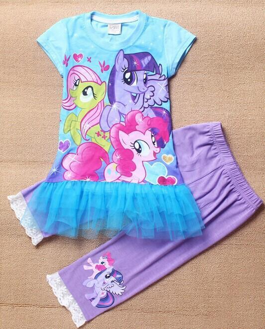 NEW STYLE! Free shipping children clothing girl My Little Pony suits 2 pieces dress+pants girls summer outfit cartoon sets(China (Mainland))