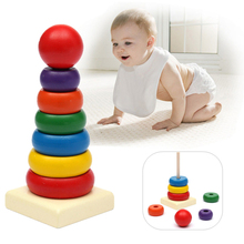 Details about  Baby Toddler Kids Tumbler Pattern Stack Up Toy Rainbow Tower Stacking Ring Toys(China (Mainland))