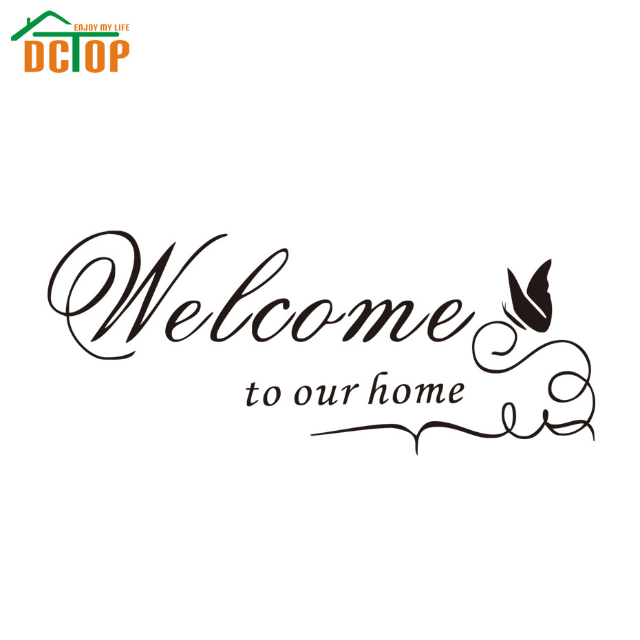 Welcome To Our Home Quote Wall Decals Decorative Adhesive Removable Vinyl Wall Stickers(China (Mainland))