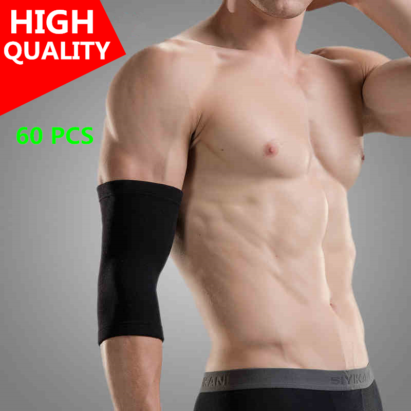 60pcs Elbow Support Black Top Quality Selling Arm Sleeve Volleyball Basketball Running Taekwondo Muay Thai Football Tennis L02I(China (Mainland))