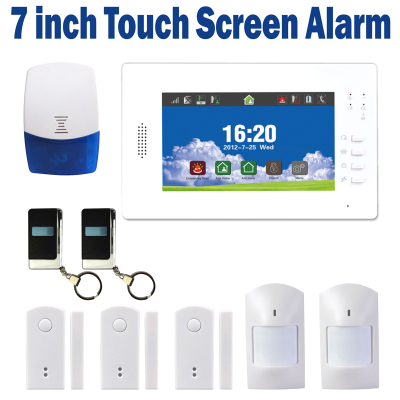 New 7 Inch Touch Panel Wireless GSM Home Security Alarm System with Backup Battery Support IOS and Android APP Controll(China (Mainland))