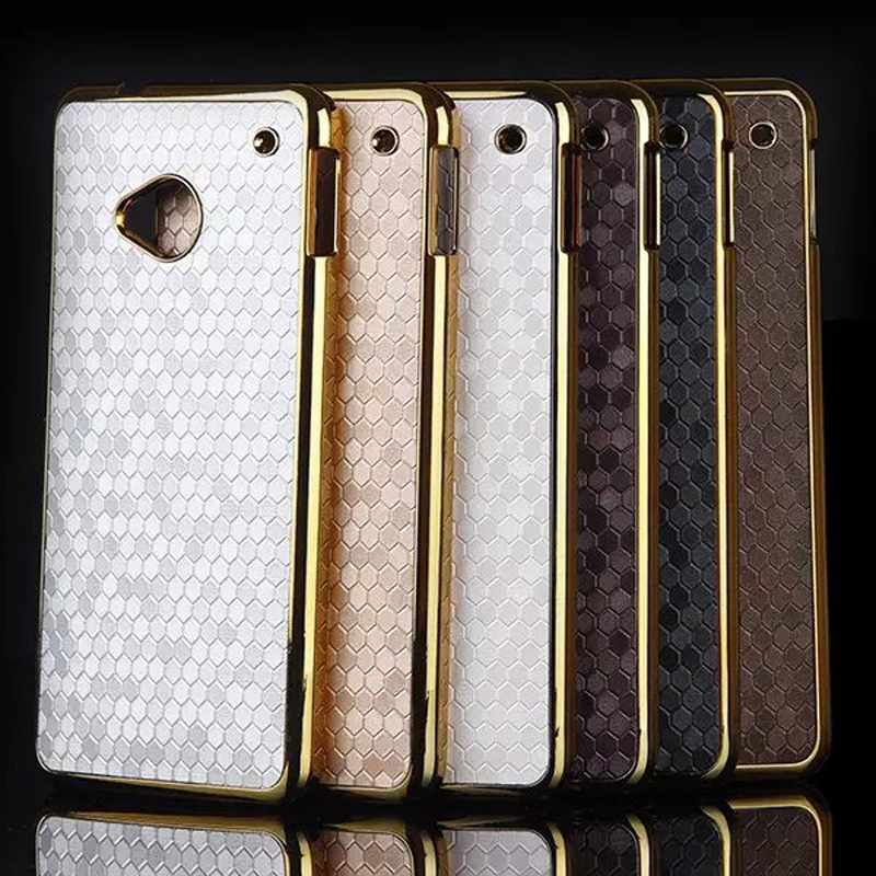 For HTC One M7 Case Hybrid Gold Plated Frame Football Skin Hard Plastic Back Cover For Sony M2 Z3 Mini M4 Phone Cases Moto G3(China (Mainland))