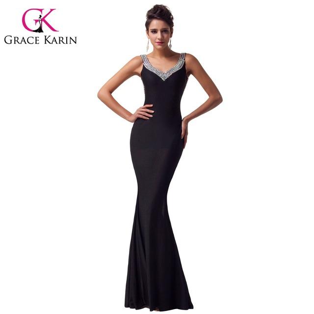 Грейс карин спинки сексуальная длинные черные вечерние платья элегантный русалка ...