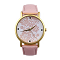 Good Watches Womens New Fashion Hot sale Lace Flower Printed PU Leather Quartz Analog WristWatch ladies