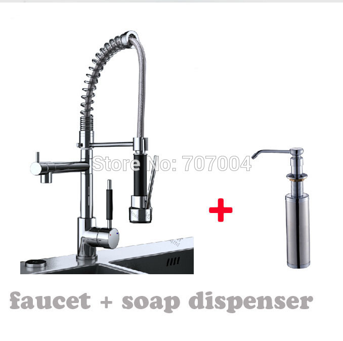 Chrome Finished Hot and Cold Pull Out / Down Kitchen Sink Faucet + Stainless Steel Soap Dispenser(China (Mainland))