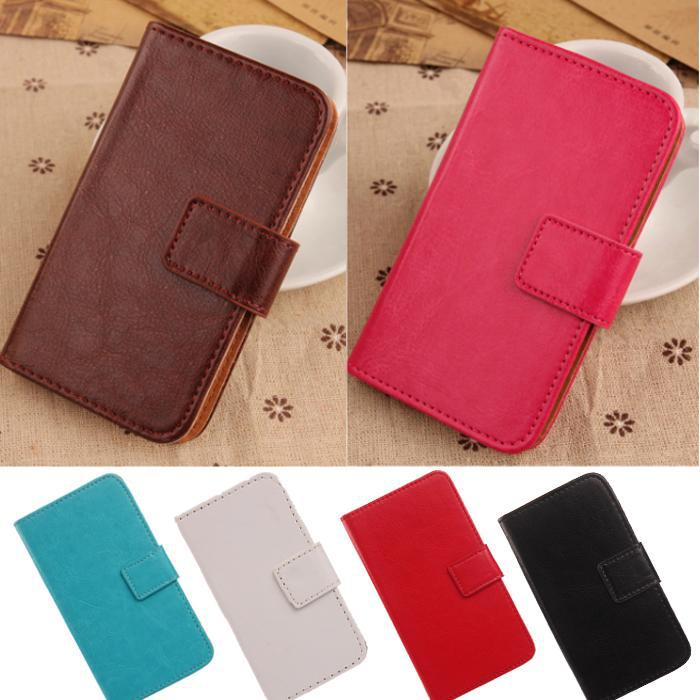 Book Style With Card Holder PU Leather Flip design Solid color Cell phone Case For UTime Smart G7 4.5 Quad Core Dual SIM(China (Mainland))