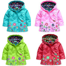 Kids Children Girls New Flowers Hooded Waterproof  Windproof Raincoat coat Free Shipping(China (Mainland))