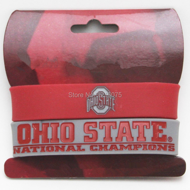300pcs NCAA Ohio State Buckeyes College Football Playoff Champions wristband silicone bracelets free shipping by FEDEX express(China (Mainland))