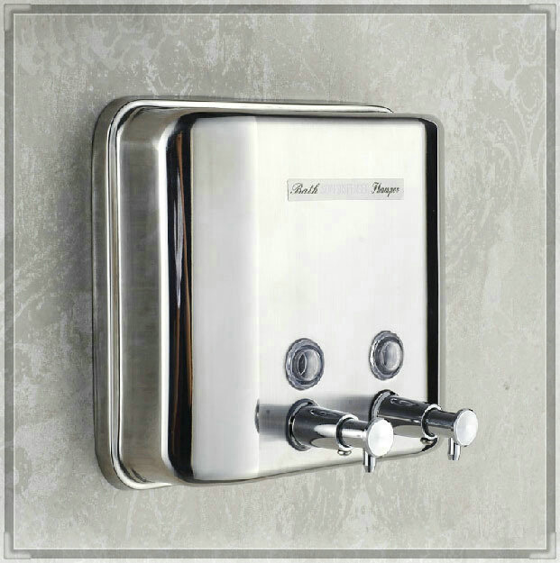 Wall mounted 1500ml shampoo soap dispenser lotion box chrome finish wash tub in liquid soap - Wall mounted shampoo and conditioner dispenser ...
