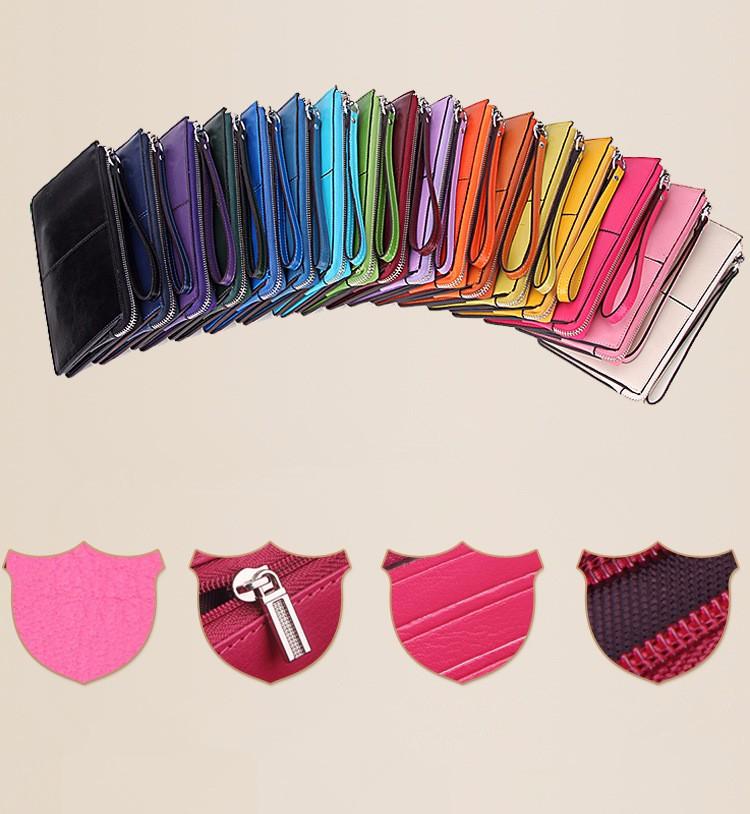 ซื้อ 2016แบรนด์แฟชั่นซิปกระเป๋าคลัทช์กระเป๋าถือกระเป๋าสตางค์ผู้หญิงหนังแท้Cowhideยาวกระเป๋าผู้ถือบัตรWalletsถุง16 Colores