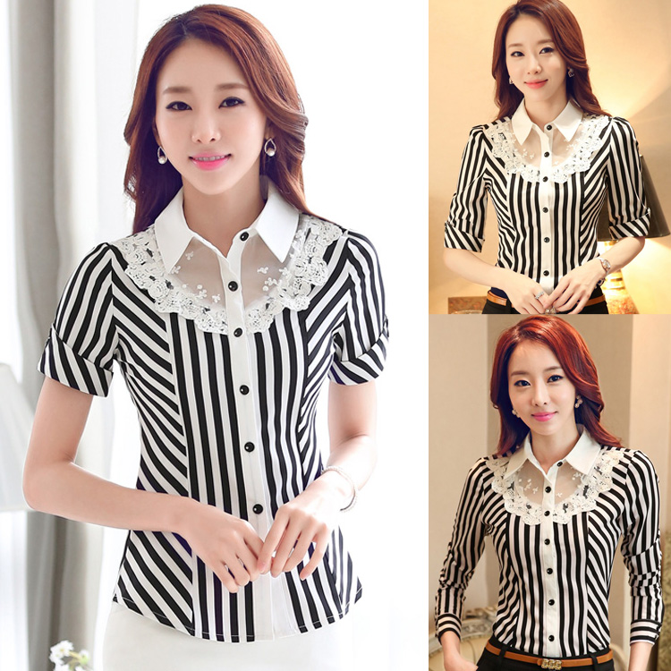 2016 new Short-sleeved Dress shirt Slim Stretch Shirt Lace Stripe Formal Blouse Shirts Professional Women Spring Fall Summer(China (Mainland))