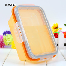 Multi-Function Silicone Lunch Box Folding Portable Picnic Box Bowl Apply to Microwave Oven Size M(China (Mainland))