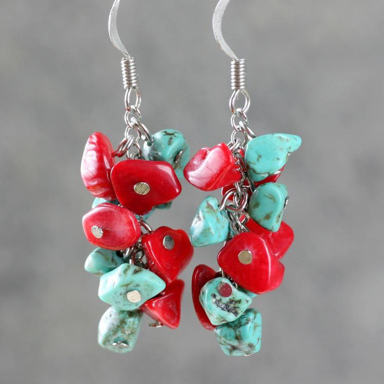 turquoise coral earrings handmade jewelry tassel