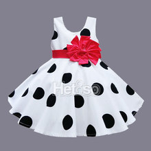 6M-5T Baby Girl Clothes Black Dot Red Big Bow Princess summer baby dress kids clothes vestidos infantis(China (Mainland))