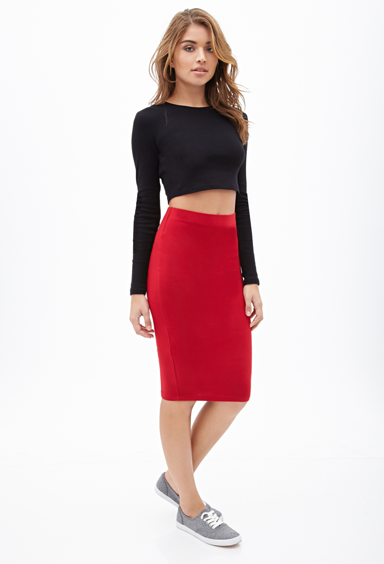 Forever Trendy Stylish 21 Red Stretch Knit Pencil Skirt To The Knee US F21(China (Mainland))