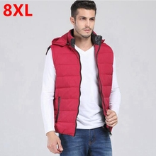 plus size male vest 8xl male down waistcoat plus size stand collar men's clothing 7XL(China (Mainland))