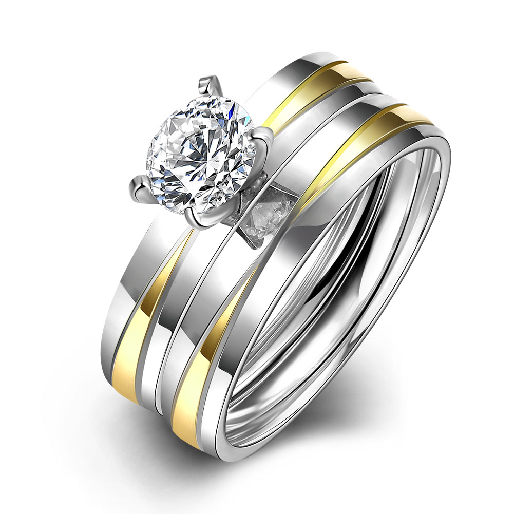 HMJTR066 2016 NEW Personality Trendy Double Zircon Rings 18K Gold Plated Titanium Ring Party Wedding Engagement Jewelry(China (Mainland))