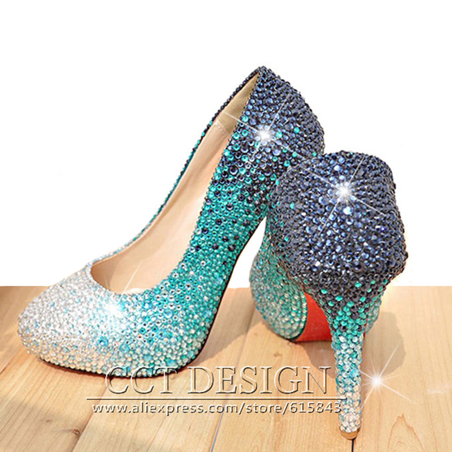 Pums Shoes Women Sexy Sky Blue Rhinestones Wedding Shoes Cinderella Crystals Shoes Red Bottom