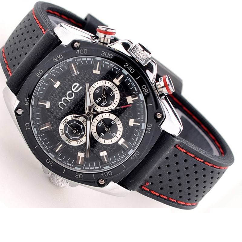 Fashion Mens Hand Wind Mechanical Wristwatches Multi functions Alveolate Dial Rubber Strap Sports Watch Reloj Gift