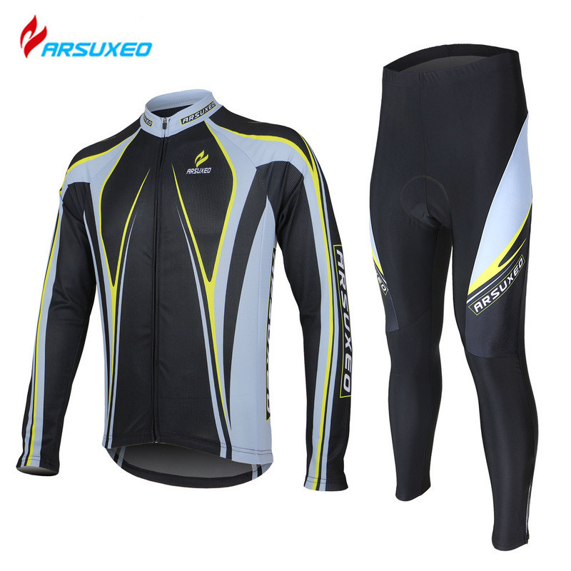 ARSUXEO Men's Athletic Outdoor Sports Clothing Road Bike Blcycle Breathable Long Sleeve Cycling Jersey + 3D Gel Paded Pants Set