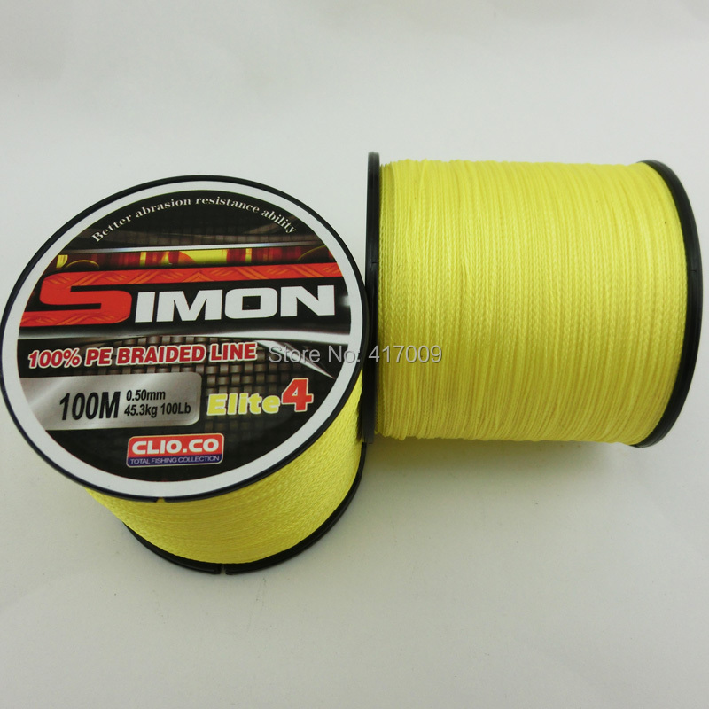 2015 New Simon Brands Multifilament PE Braided Line 100meters Super Strong fishing line 4 Stands 10LB