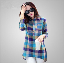 Plus Size Plaid Shirt Women 2016 Korean Style New Fashion Long Sleeve Shirt Casual Cotton Linen Blouses Tops 2 colors 6 size