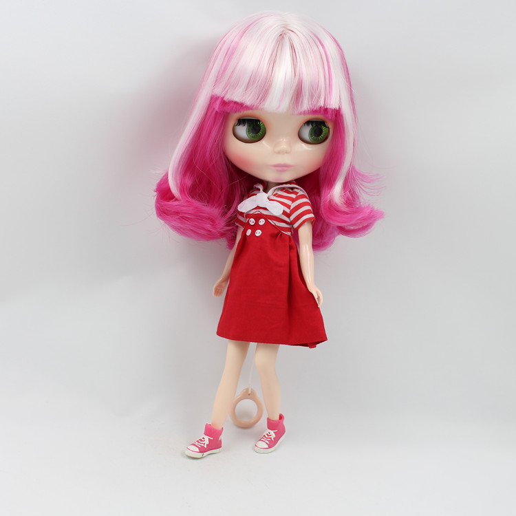 Cloth baby doll red and white bi-color hair cloth suitable for modified nude baby changing makeup<br><br>Aliexpress