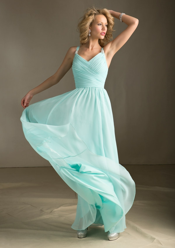 New fashionable mint green bridesmaid dresses long party for Long wedding dresses under 100