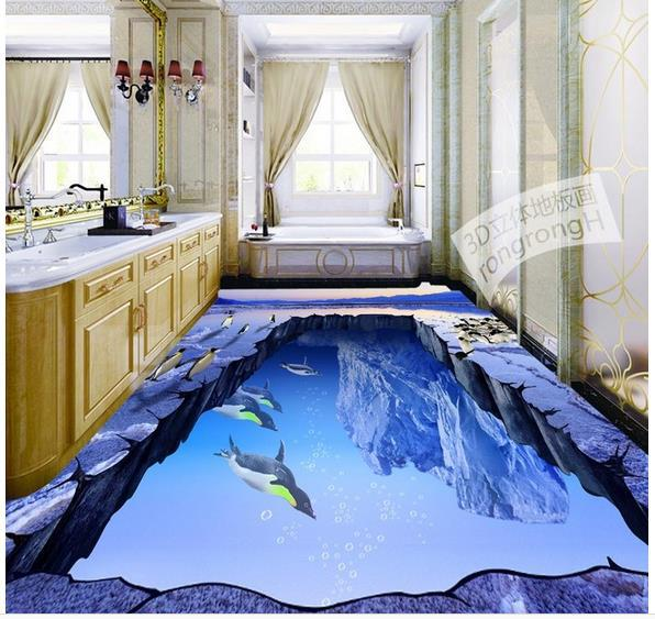 Custom photo floor wallpaper 3d stereoscopic glacier ice for Floor 3d wallpaper