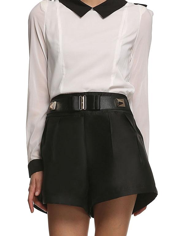 Stylish Women Casual Shorts Fake Belt Zipper Back High Waist Loose Shorts(China (Mainland))