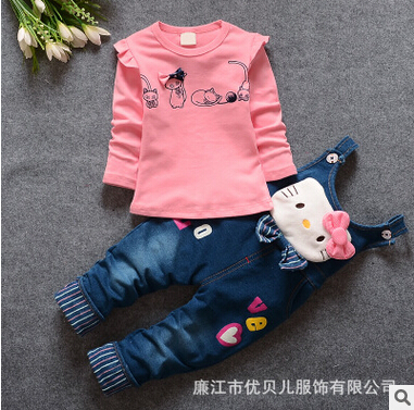 2016 Summer Hello Kitty girls children clothing set t shirts + Bib suits 2 pcs suit girl's dot dress tops Cartoon outfits(China (Mainland))