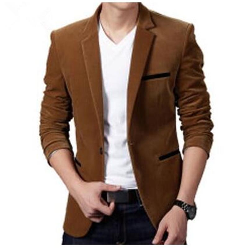 Plus Size 3XL Mens Blazer High Quality Suit Jacket Korean Fashion Velvet Blue Blazer Male Casual Jacket Single Breasted(China (Mainland))