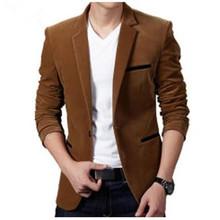 Большой размер 3XL мужской пиджак высокое качество пиджак корейских мода бархат синий пиджак-мужчин свободного покроя однобортный