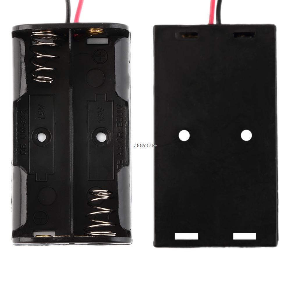 Black 2A Plastic Battery Storage Cover Case Box Holder for 2 x AA 2-AA Batteries with 6'' Cable Lead for Soldering Connecting(China (Mainland))