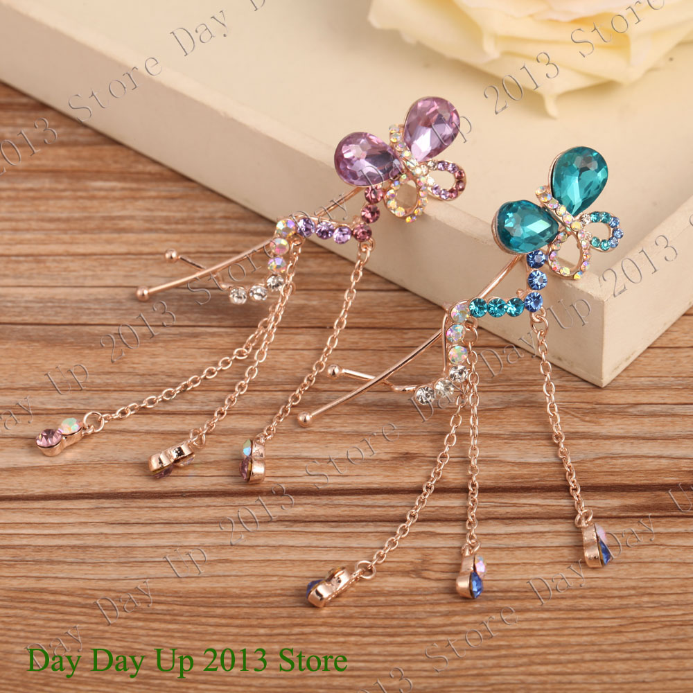 Butterfly Chain dangling 2015 New Style Spiral Hair Clip Gold plating steel Clip top quality head pins Shine Rhinestones NNP034(China (Mainland))