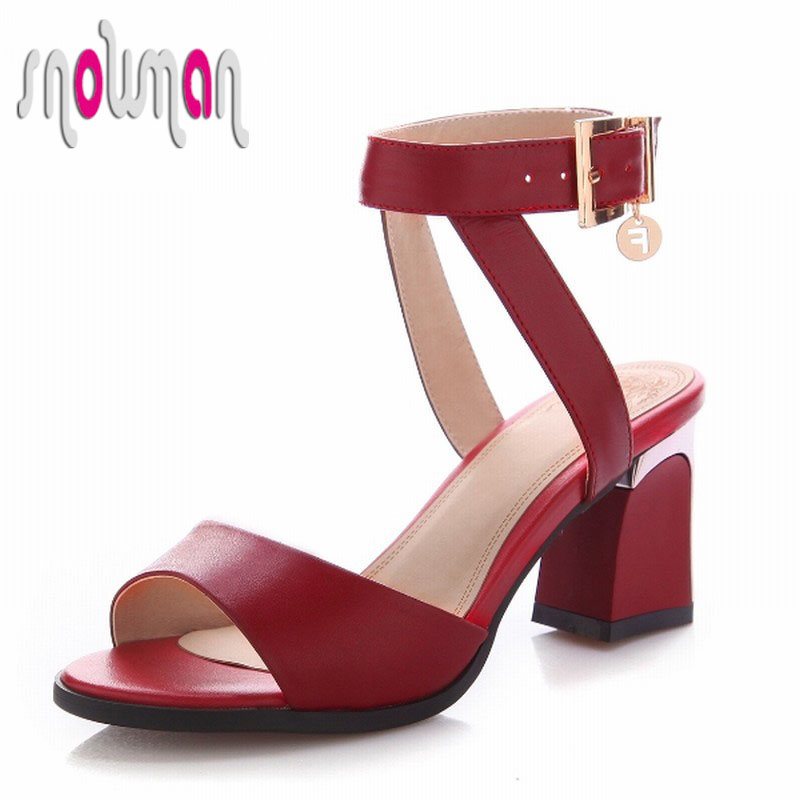 Genuine Leather Sandals 2016 Top Selling Sexy Ankle Strap Women Shoes Thick High Heels Shoes Woman Rome Style Summer Sandals