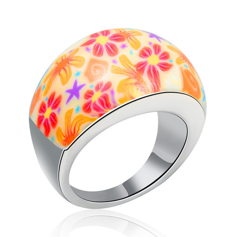 Colorful Polymer Clay Girls Mixed Rings ROXI Brand Platinum White Gold Plated Bohemian Flower Rings Jewelry(China (Mainland))