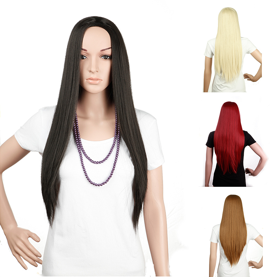 "25"" Long Straight 3/4 Half Wig Synthetic Heat Resistant for Women Costume Party Hair Wigs 16 Colors Available(China (Mainland))"
