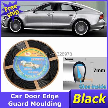 42Ft Car Door Edge Guard Moulding Black SUV car Protector Trim Strip free shipping