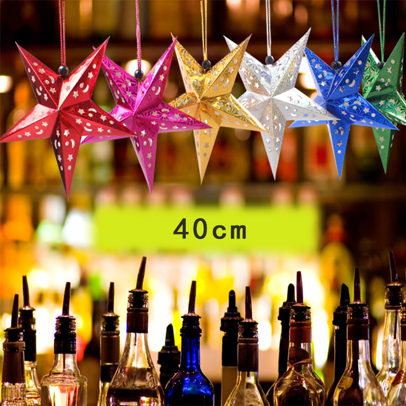 New 40cm 4pcs Christmas decorations Laser pentagram Bar Holiday Room ceiling decoration Ornaments Star Christmas Gift Four Color(China (Mainland))