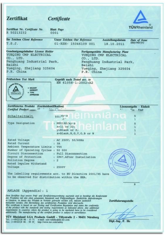 19mm TUV certifications