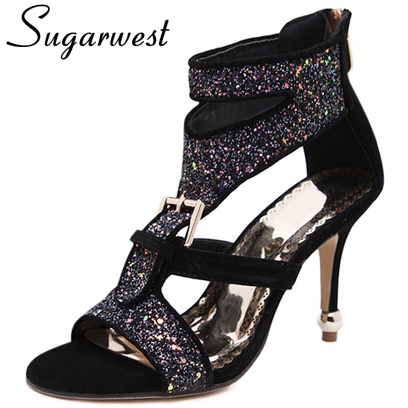 Fantastic Sexy Rivet Wedding Pumps 2016 Fashion Women High Heels Hollow Sandals