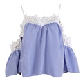 Hot Sale Women Summer Casual Blouse Tops Fashion Shirts Off shoulder Short Sleeve Lacewoek Blouse Shirt