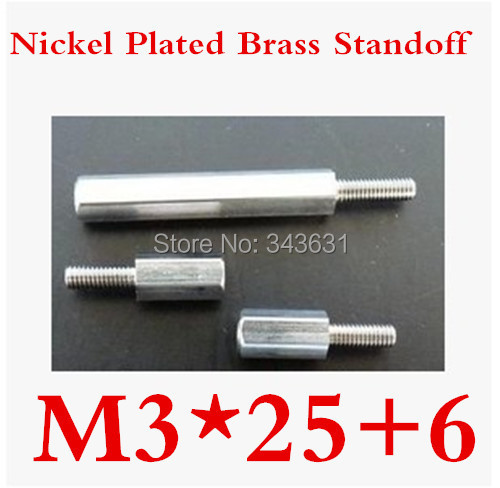 100pcs/lot High Quality M3*25+6 Nickel Plated Brass Standoff Spacer M3 Male x M3 Female<br><br>Aliexpress