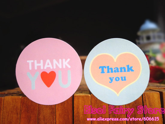 1200pcs Heart Glossy Laminated Paper Circle Thank You Seal Sticker Gift Point Sticker For Party Favor Gift Bag Candy Box Decor(Hong Kong)