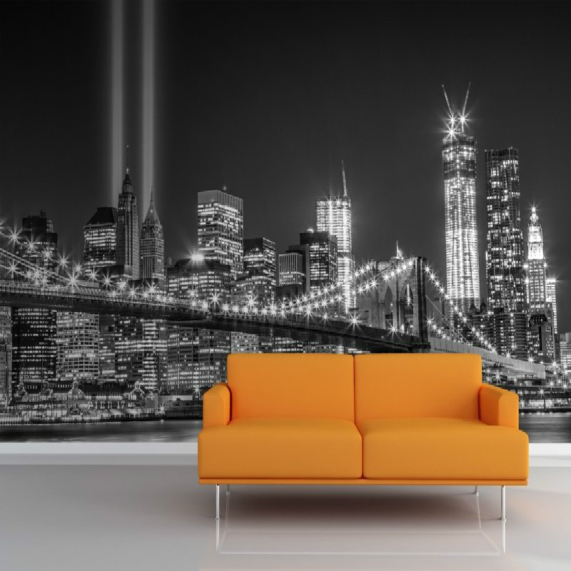 Buy mural greyscale ny trade centre for Mural lighting